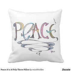 Peace 16 x 16 Poly Throw Pillow