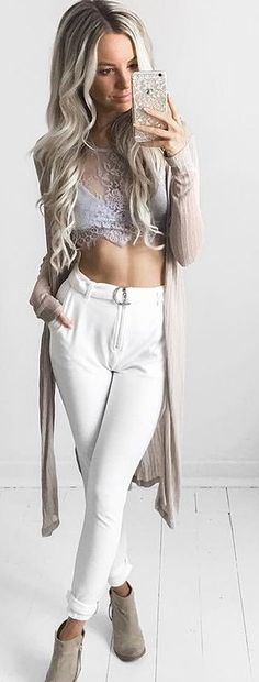 Grey Lace Crop + White Buckled Pants                                                                             Source