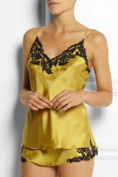 La Perla- Maison lace-trimmed silk-blend satin camisole and briefs.