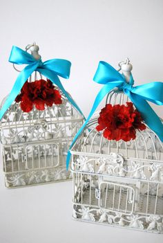 Two Medium Ivory Shabby Chic Birdcages - Aqua Turquoise And Red