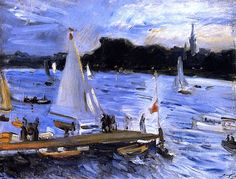 bofransson:    Sailboats on the Alster River in the Evening Max Slevogt - 1905