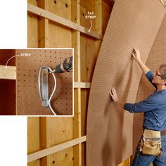 Pegboard Walls - Create pegboard walls by running 1x3 strips horizontally at the top and bottom of the panel and every 16 in. or 24 in. between. Use 1/4-in. pegboard and attach it to the strips with washer-head screws. The strips will also allow you to mount screw-on hooks to the wall for very heavy items like bikes and wheelbarrows.