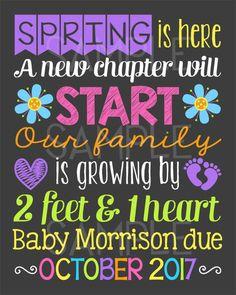 Spring Pregnancy Announcement Chalkboard by PersonalizedChalk