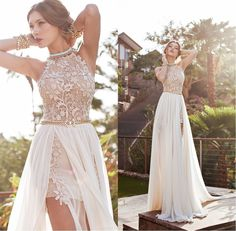 dresse on sale at reasonable prices, buy 2016 A Line Front Slit Chiffon Elegant Two Pieces Beach Wedding Dress 2016 Detached Train Bridal Gown vestido de noiva from mobile site on Aliexpress Now! Prom Dresses 2015, Backless Prom Dresses, Lace Evening Dresses, Evening Gowns, Wedding Dresses, Backless Wedding, Prom Gowns, Dress Prom, Evening Party