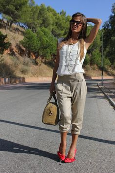 summer outfits womens fashion clothes style apparel clothing closet ideas white shirts beige pants red heels brown handbag sunglasses