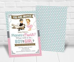 Planes or Pearls Gender Reveal Party Invitation Gender Reveal Party Invitations, Party Invitations Kids, Personalized Invitations, Printable Invitations, Baby Shower Invitations, Quick Print, Reveal Parties, Baby Shower Games, Planes