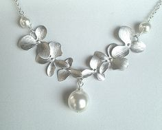 Dangling Triple Orchids Flowers pendant charm by LaLaCrystal, $26.50