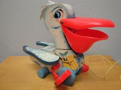 Vintage Fisher Price Big Bill Pelican 794 Pull Toy 1961*