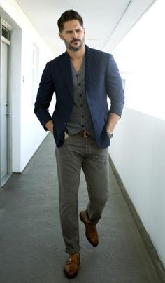 Joe Manganiello // Jacket, vest, jeans and belt from Brunello Cucinelli // Shoes by allenedmonds.com // David Yurman watch