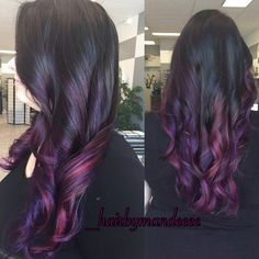 I always have so much fun when @haillmarie comes in! #pravana #joico #purplehair #redken #ombrehair #purplehair #pinkhair #colorfulhair #cilantrohairspa #behindthechair #modernsalon #hairbymandeeee
