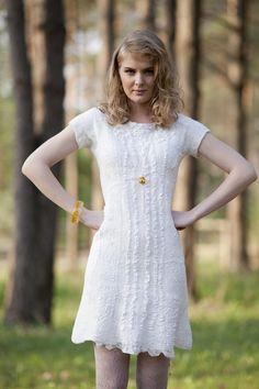 Nuno felt wedding dress. Made from merino wool and silk. 100% handmade :)