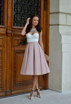 midi skirt with bustrier top