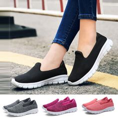 Women Sneakers Casual Flats Slip On Loafers Tennis Breathable Mesh Shoes Fashion Casual Sneakers, Casual Shoes, Women's Sneakers, Sketchers Shoes Women, Sketchers Go Walk, Women's Slip On Shoes, Women's Shoes, Low Heel Sandals, Swag