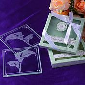 """""""Calla Lilies"""" Frosted-Glass Coasters in Flor... – GBP £ 1.97"""