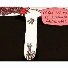 Aumento de sueldo descripción gráfica. Y sabes qué es lo peor? Que cada vez la escalera es más pequeña en relación con la profundidad... (Si sabes quién es el ilustrador autor de esta imagen etiquétalo para dale crédito. Gracias). #misdatos #economía #política #opinión #argumentos #bruja #brujareal #venezuela #CosasDeBruja