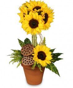 brighten someone's day with flowers   POT O' SUNFLOWERS Topiary Arrangement in Brenham, TX   BRENHAM FLORAL ...