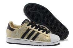 Hommes Adidas Superstar II Chaussures Or Noir Gribouillage Noir