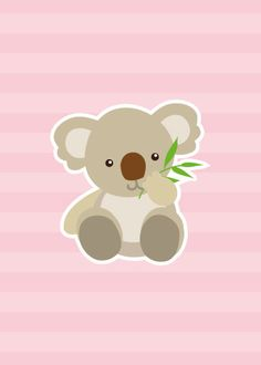Koala on Light Pink - Kids Animal Illustration Print - Cute Childrens Nursery Wall Art - Baby Shower Gift - Girl or Boy or Neutral