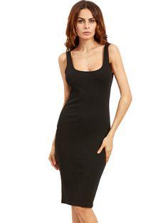 bf91d114c3 Black Sleeveless U Neck Bodycon Dress -ROMWE
