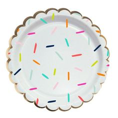 How cute are these sprinkle plates?! Great for any celebration, but they really pair perfectly with our Happy Birthday Sprinkle Napkins! Please note: the shape of these plates is now round with gold e