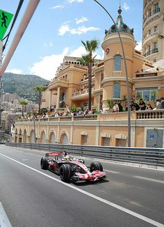 The Monaco Grand Prix takes place every May. This sports car is roaring up the hill from the port towards the Casino area on Monte Carlo. If you think Monaco couldn't get any more expensive than it already is, try visiting during Grand Prix week.  But you