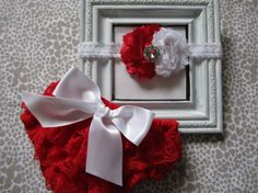 Baby Girl Christmas Outfit...1st Christmas Outfit...Christmas Photo Outfit...Newborn Bloomers...Lace Diaper Cover