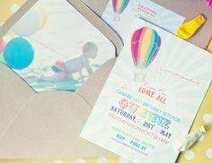 Hot air balloon rainbow 1st birthday party idea via Kara's Party Ideas - www.karaspartyideas.com. Such a cute invitation.
