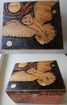 Just finished. Wood burned box, the Labyrinth owl and worm.. 'It's only Forever..' #pyrography #labyrinth #owl