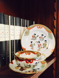 Vintage Eggshell Hand Painted Exquisite Trio with Geisha Girl Detail Geisha Girl Oriental Chinese tableware Eggshell Tea cup and Saucer & Villeroy \u0026 Boch MARIPOSA 8 3/8\
