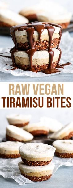 Raw Vegan Tiramisu Bites {gluten, dairy, egg, peanut, soy & refined sugar free, vegan, paleo} - These raw vegan tiramisu bites consist of three layers of utter decadence: a crunchy chocolatey base, a mousse-like coffee middle and a topping of pure creamy vanilla goodness. While they are gluten and dairy free, as well as vegan and paleo, they couldn't be more delicious, more decadent and more beautiful. #vegan #paleo #healthy #dessert #tiramisu