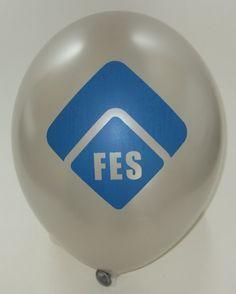 silberner #Werbeballon mit Logo bedruckt