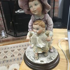 Giuseppe Armani Figurine Sculpture GULLIVERS WORLD GIRL WITH BABY SISTER