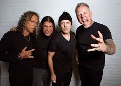 "In this Sept. 22, 2016 photo, Metallica band members, from left, Kirk Hammett, Robert Trujillo, Lars Ulrich and James Hetfield pose for a portrait in New York to promote their first album in eight years, ""Hardwired… To Self-Destruct."" (Photo by Charles Sykes/Invision/AP)"