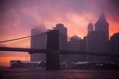 MANHATTAN ON FIRE, BROOKLYN BRIDGE, NEW YORK CITY, 2010 by James Maher