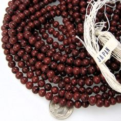 Vintage Japan glass beads Swirl Mahogany brown by TobysArtwear