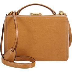 Mark Cross Women's Small Grace Trunk Bag (57 005 UAH) ❤ liked on Polyvore featuring bags, handbags, purses, tan, handbag purse, beige leather purse, shoulder strap purses, leather hand bags and tan purse