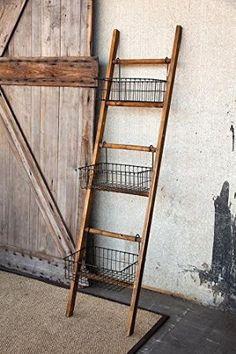 "Amazon.com: Jacob Ladder With Baskets, 72""Hx18""Wx12""D, NATURAL BLACK: Home & Kitchen"