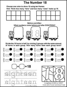 Free math printables for Kindergarten or Grade 1. A number study of 18, before and after, ten frames, odd or even, tracing eighteen, and dividing in half.
