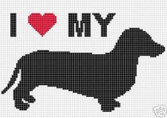 This graph pattern will make a beautiful heirloom afghan done in single crochet, the afghan or Tunisian crochet stitch, knit, or counted cross stitch onto the background. I LOVE MY DACHSHUND. Crochet Shrug Pattern, Dog Pattern, Crochet Chart, Crochet Patterns, Afghan Patterns, Counted Cross Stitch Patterns, Cross Stitch Designs, Cross Stitch Pillow, Cross Stitch Animals