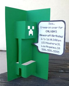 FREE DIY 3D Popup Minecraft Creeper SVG Template for Cards or Invitations