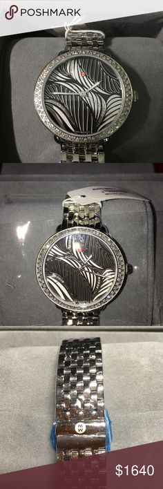 NWT MICHELE SEREIN 16 Swirl Watch. Authentic Michele Diamond Dial watch. 103 diamonds. 34x36mm case. Total diamond wt .52ct Retail $2295. Michele Accessories Watches