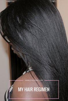 My Hair Regimen → Deep Condition on dry hair with a moisturizing treatment/oil for Source by . Relaxed Hair Regimen, Relaxed Hair Growth, Long Relaxed Hair, Relaxed Hair Journey, Healthy Relaxed Hair, Natural Hair Regimen, Natural Hair Growth, Healthy Hair, Homemade Hair Treatments
