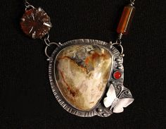 Silver Cymophane Butterfly Necklace With Carnelian Cab, Carbed Agate Flower, Lemon Jade Nuggetss by madstarsilver on Etsy https://www.etsy.com/listing/204424894/silver-cymophane-butterfly-necklace-with