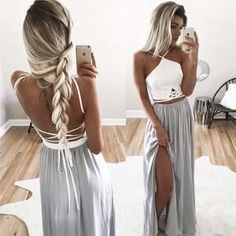 Silver prom dress, sexy prom dress, side split prom dress, backless prom dress, two pieces prom dres - 2020 New Prom Dresses Fashion - Fashion Of The Year Split Prom Dresses, Grey Prom Dress, Backless Prom Dresses, Dress Long, Formal Dresses, Prom Gowns, Maxi Dresses, Party Dresses, Dresses 2016