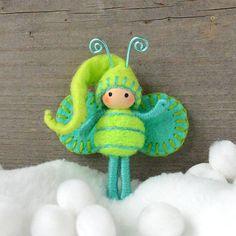 Christmas Elf Chartreuse and Aqua Bendy doll