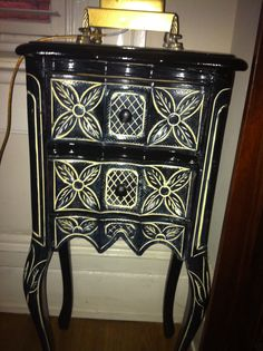Old end table painted and glazed