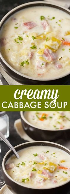 Creamy Cabbage Soup - Simply Stacie Hearty and comforting! This delicious and easy soup recipe is loaded with tender cabbage, carrots, celery, ham and spices. Creamy Cabbage Soup Recipe, Cabbage Soup Recipes, Easy Soup Recipes, Beef Recipes, Cooking Recipes, Ham And Cabbage Soup, Recipies, Crockpot Cabbage Soup, Summer Soup Recipes