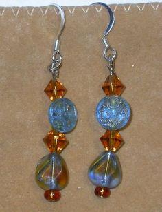 Earrings, Drop, Dangles, Blue and Amber Teardrop Beads, Vintage Button | Susanknits - Jewelry on ArtFire