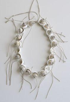 Chequita Nahar - Okraai Klara necklace, 2010, porcelain, pine, string - 980 x 28 mm