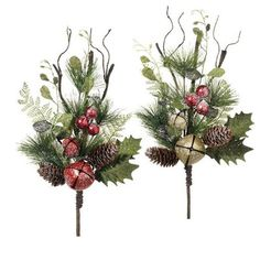 christmas floral picks 2015 raz holly jingle bell spray set of 2 2 assorted sprays made of pvc measures 185